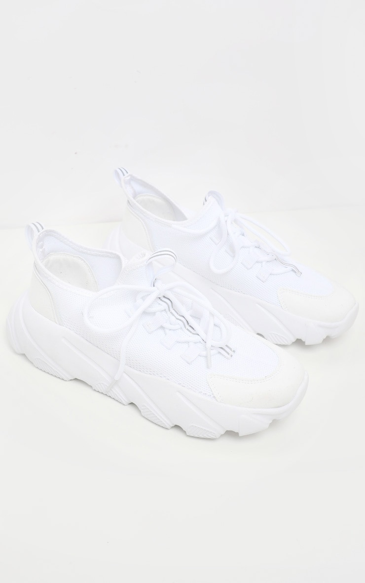 White Lace Up Sock Sneakers 3
