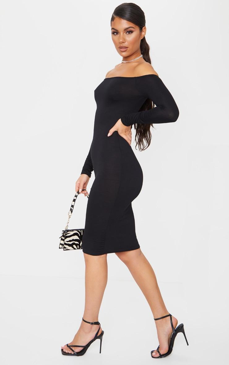 Basic Black Jersey Bardot Midi Dress 3