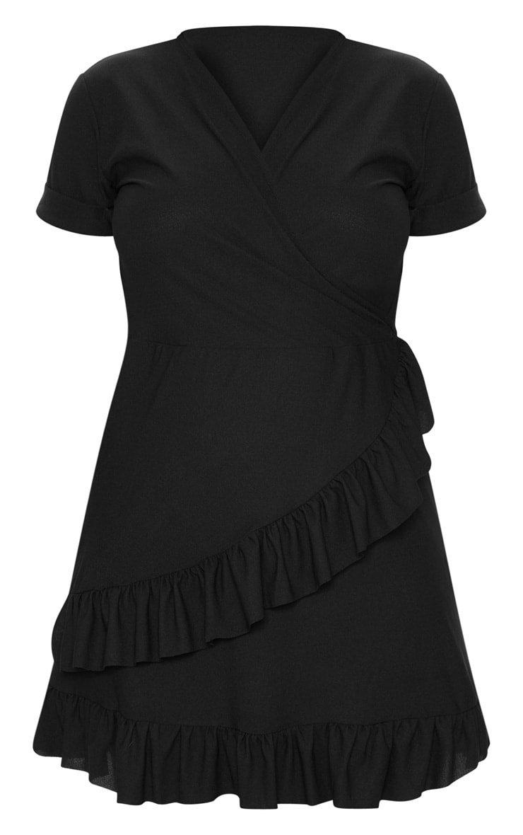 Plus Black Frill Detail Wrap Dress 3