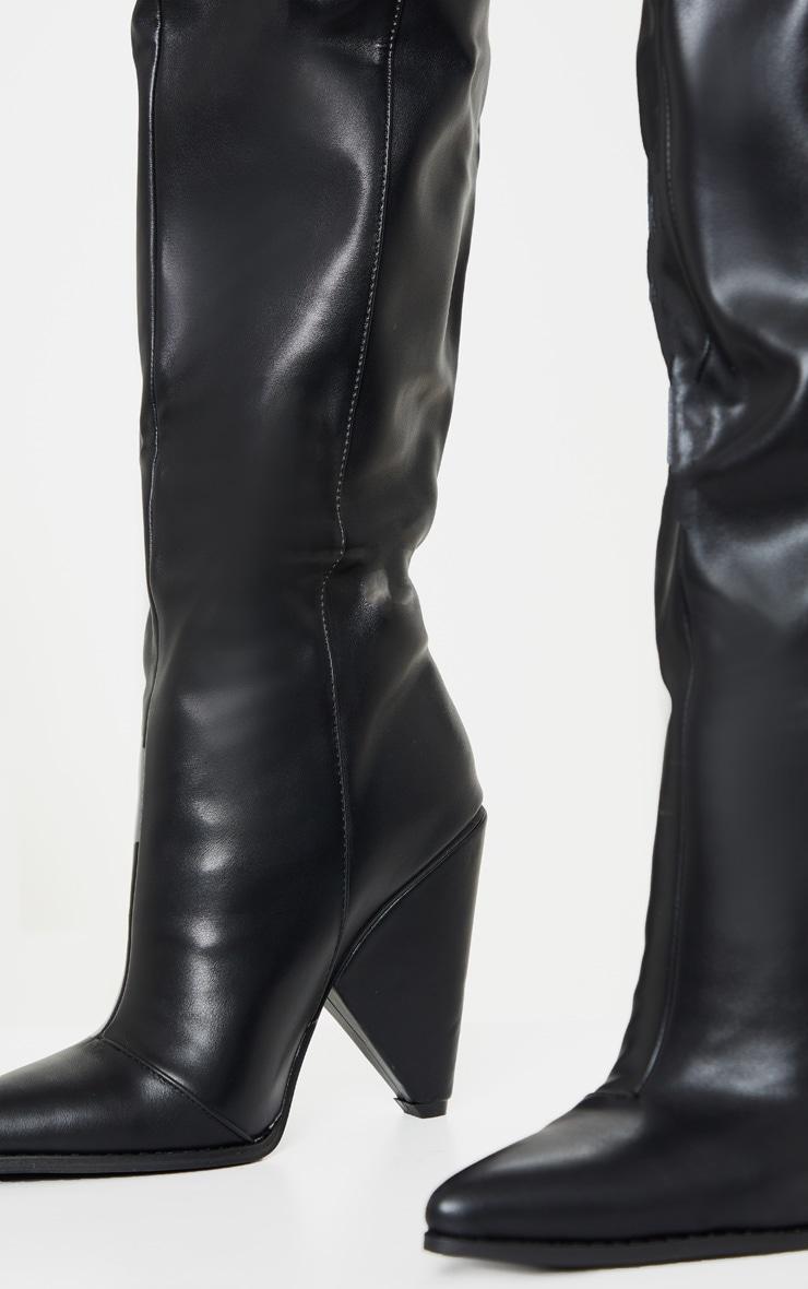 Black Thigh High Cone Heel Boot 4