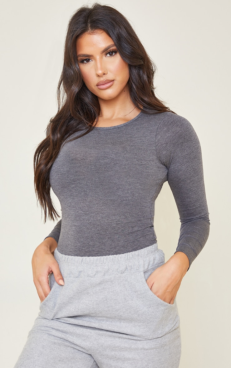 Tall Charcoal Crew Neck Long Sleeve Bodysuit 1
