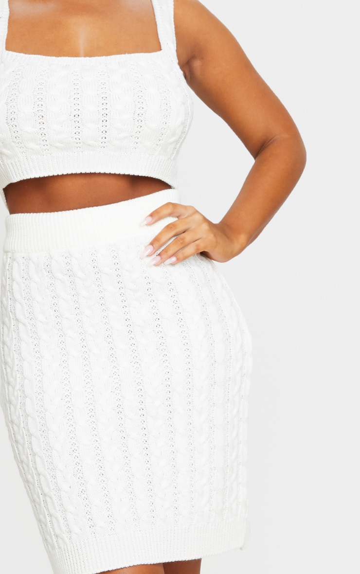 Cream Cable Mini Skirt Knitted Set 5