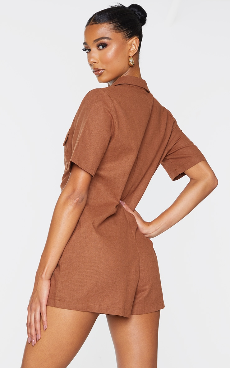 Chocolate Linen Look Boxy Playsuit 2