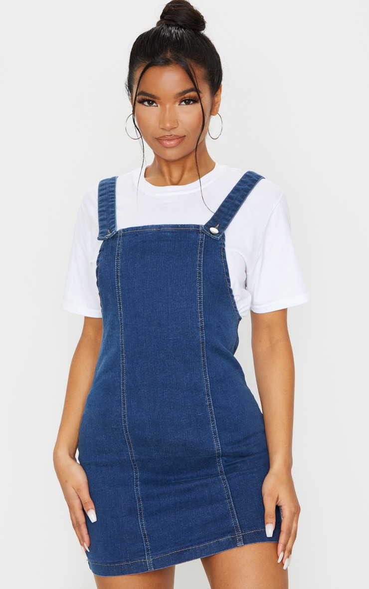 Mid Blue Wash Pinafore Denim Dress 1