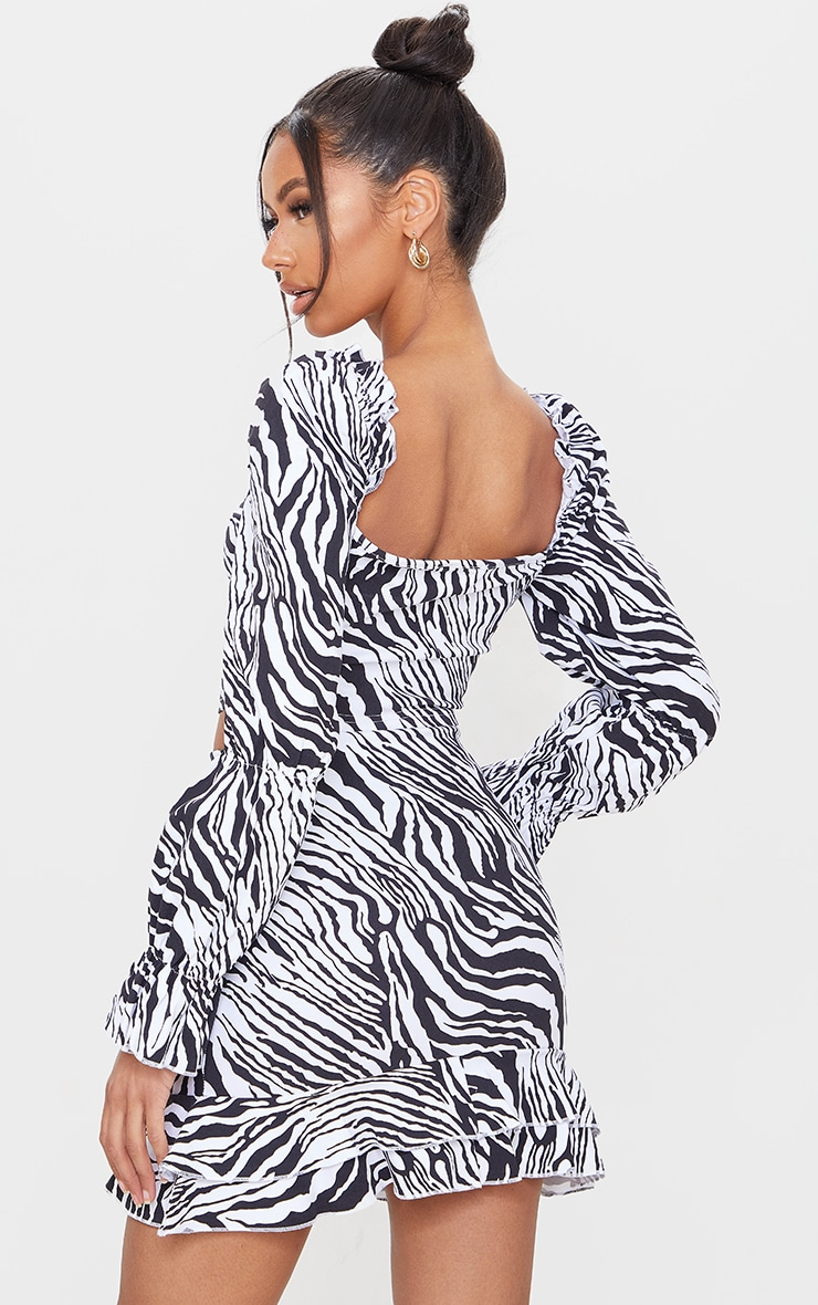 Black Zebra Print Woven Stretch Frill Ruched Front Long Sleeve Crop Top 2