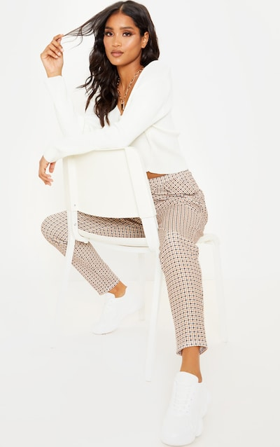 Stone Dogtooth Pleated Cigarette Trousers
