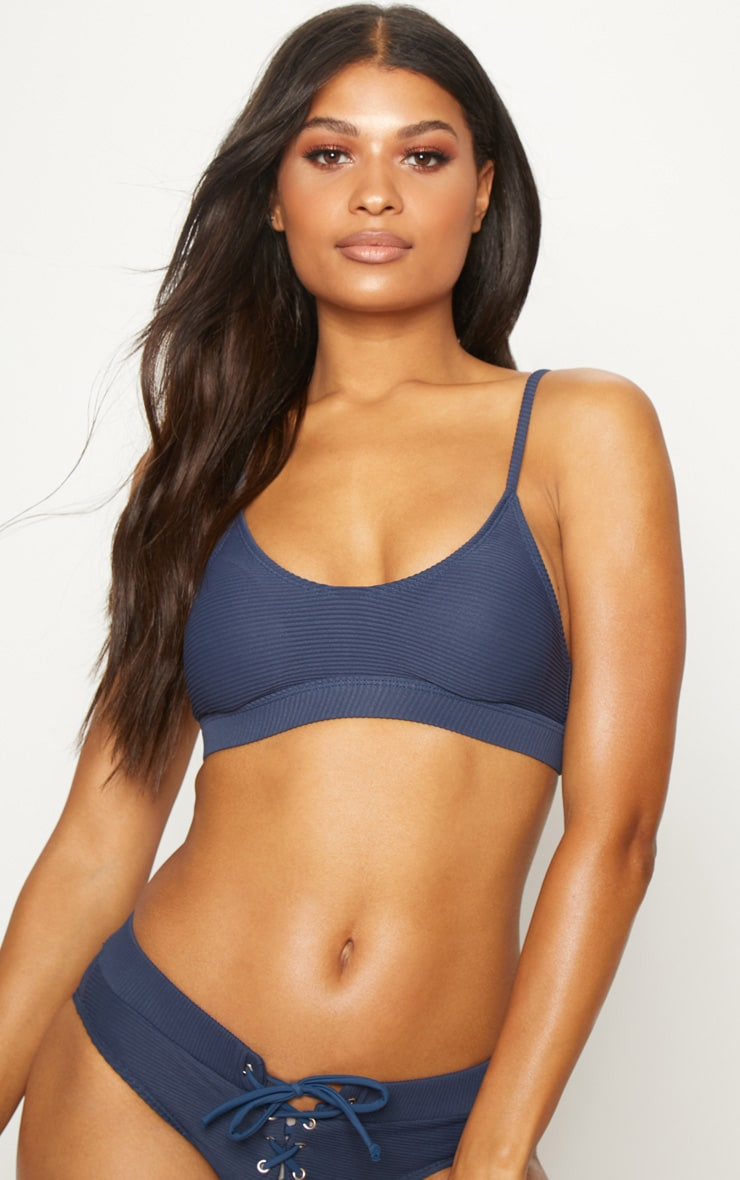 Navy Ribbed Scoop Neck Bikini Top 1