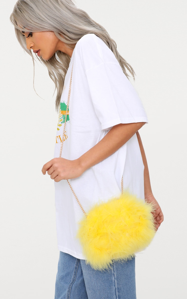 Yellow Marabou Feather Clutch Bag 1