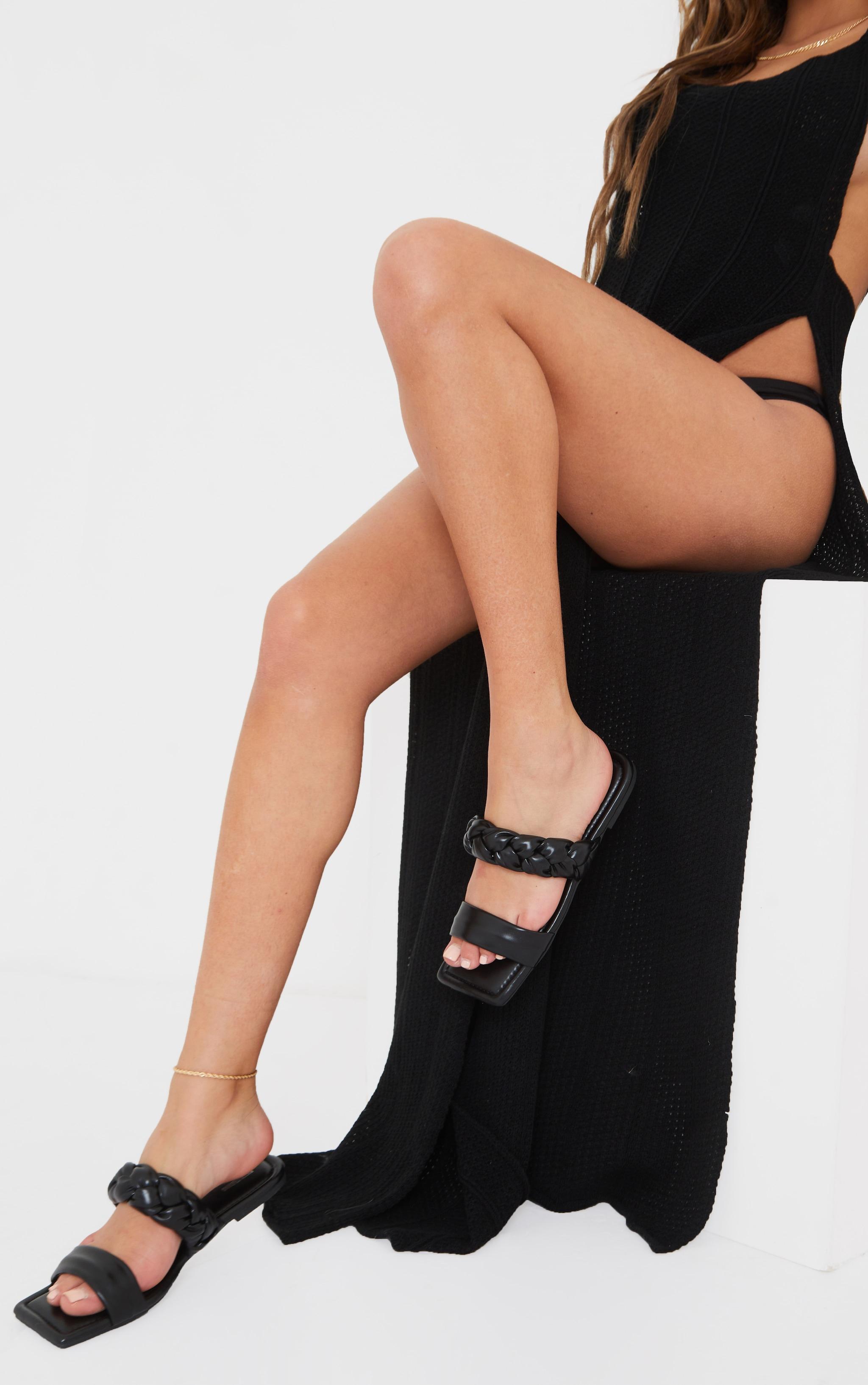 Black PU Double Strap Plaited Mule Sandals 2