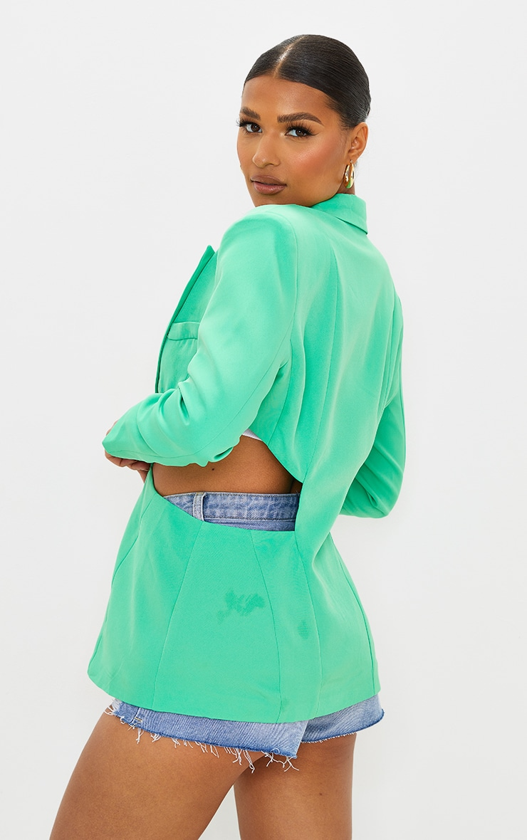 Green Woven Extreme Cut Out Blazer 2