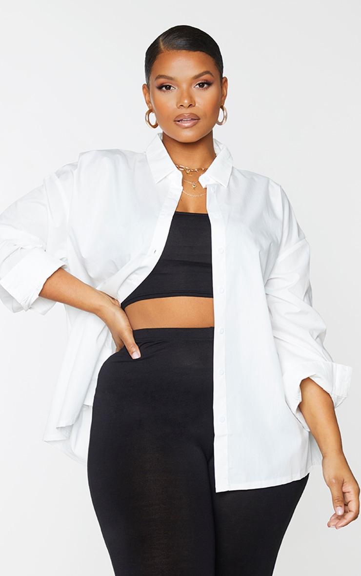 Plus White Button Cotton Oversized Shirt 1