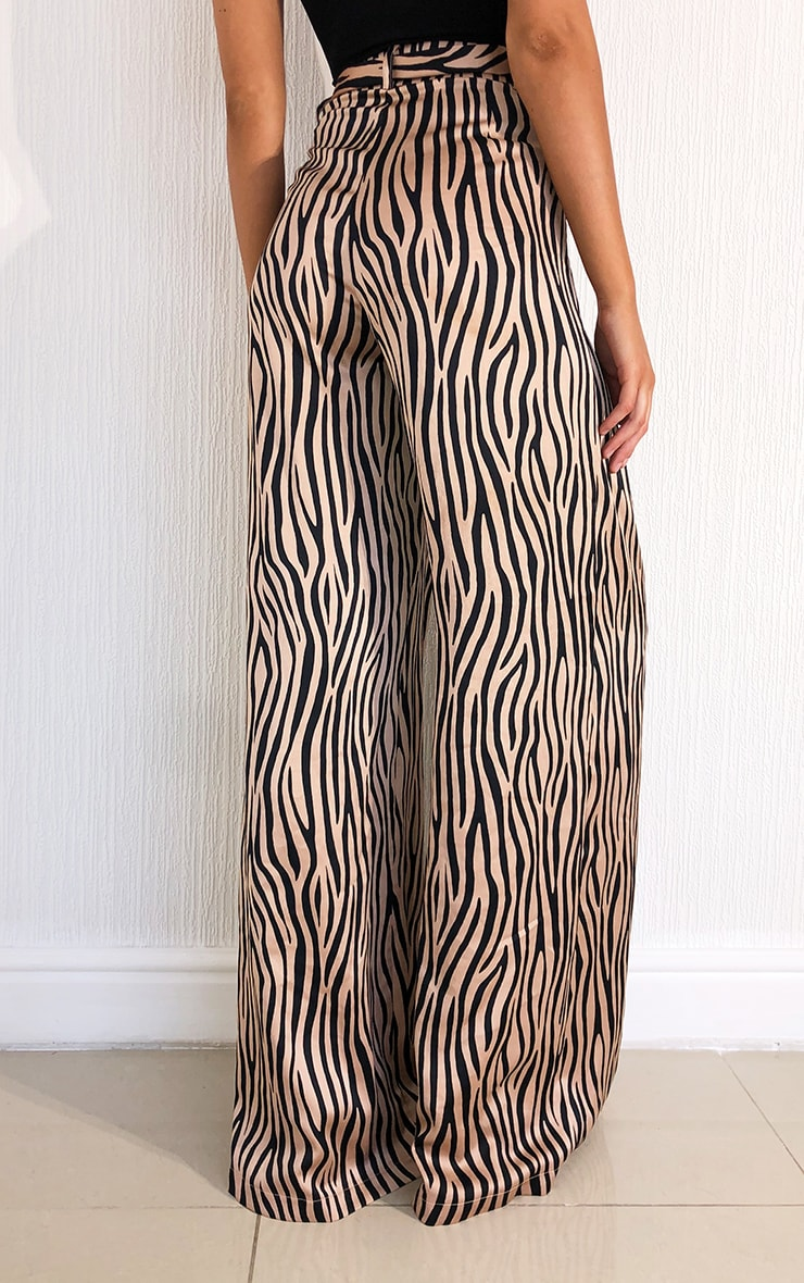 Stone Zebra Print Belted Extreme Wide Leg Trousers 3