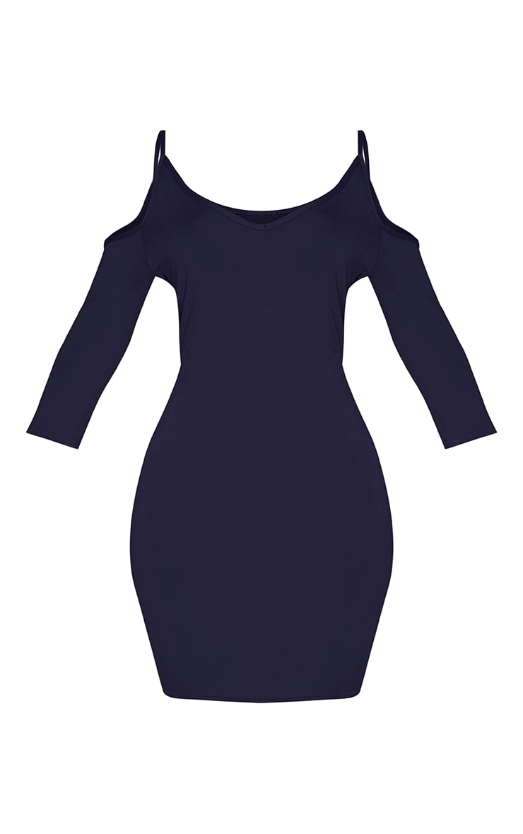 Kaleah Navy Cold Shoulder Bodycon Dress 2