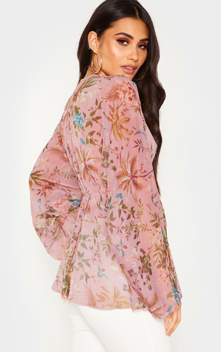 Pale Pink Floral Printed Plunge Ruched Sleeve Top 2