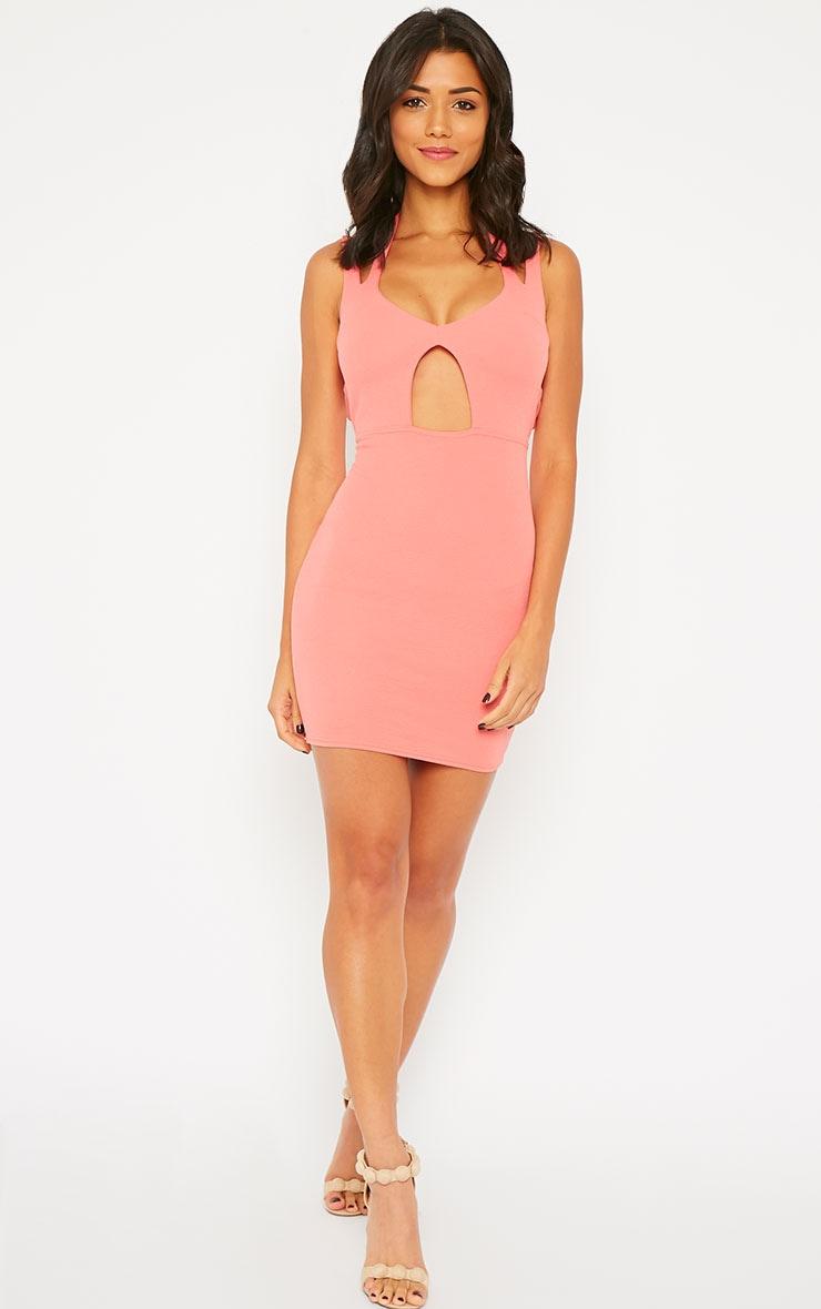 Audrina Coral Crepe Cut Out Mini Dress 3