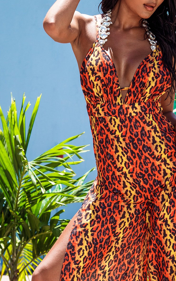Orange Leopard Wide Leg Beach Jumpsuit 5