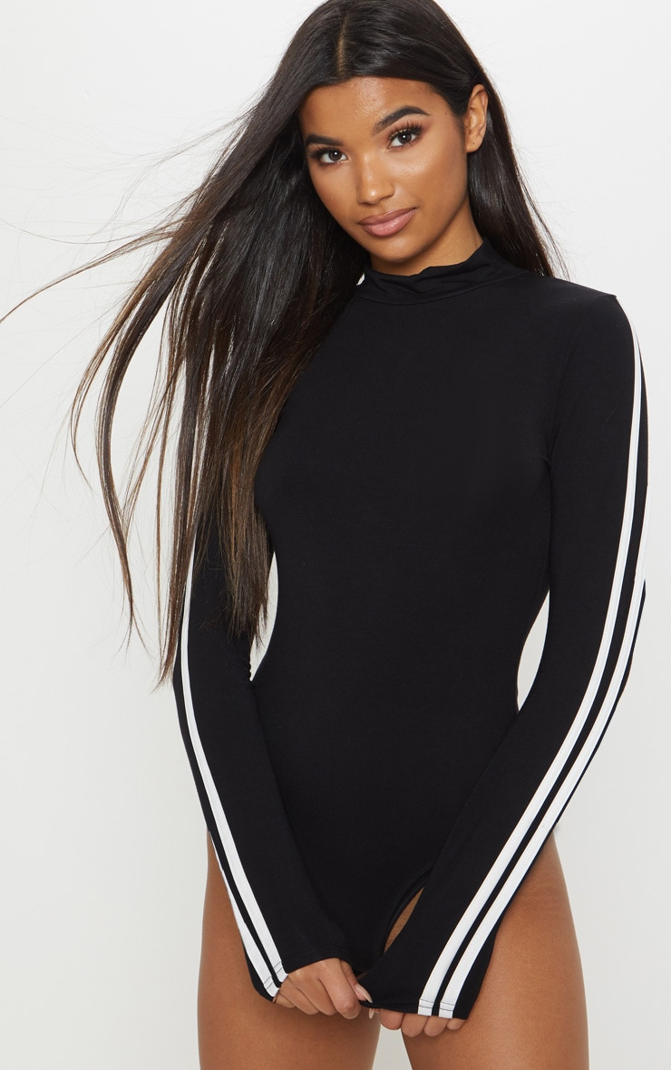 Black High Neck Stripe Long Sleeve Bodysuit 6