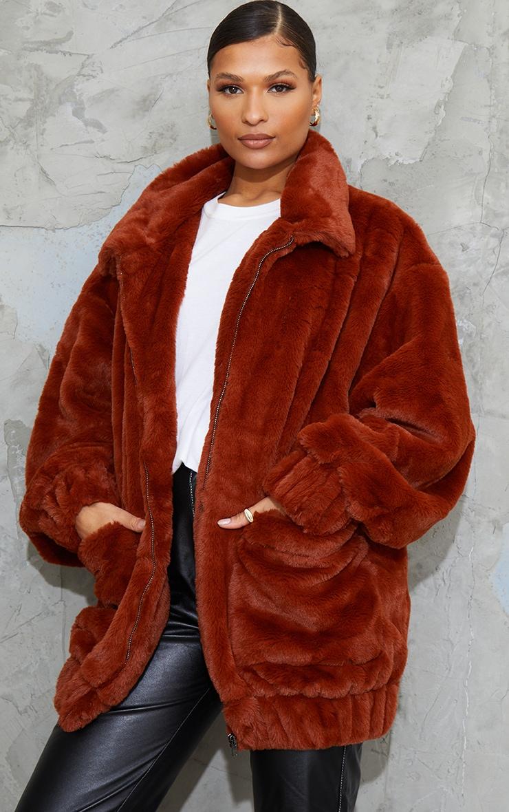 Brown Faux Fur Pocket Front Coat 1