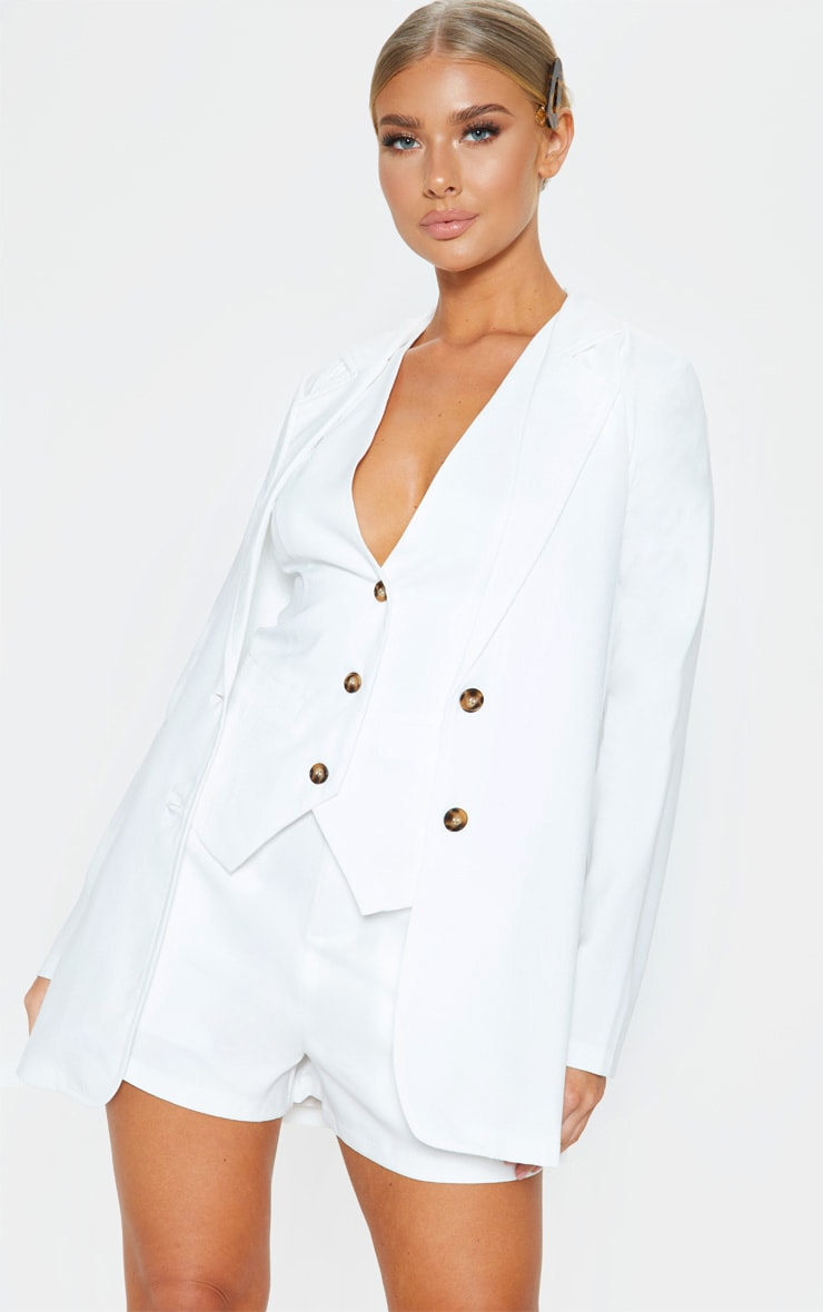 Cream Button Detail Oversized Woven Blazer 1