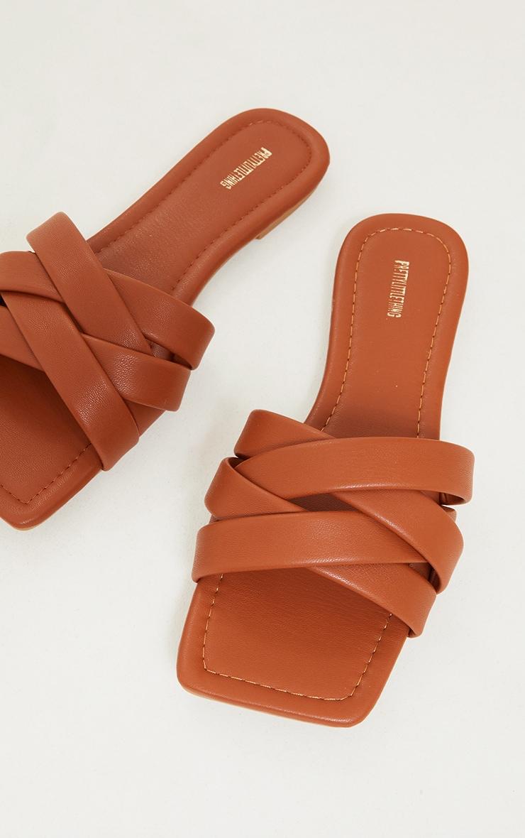 Tan PU Toe Basket Weave Mule Sandals 4