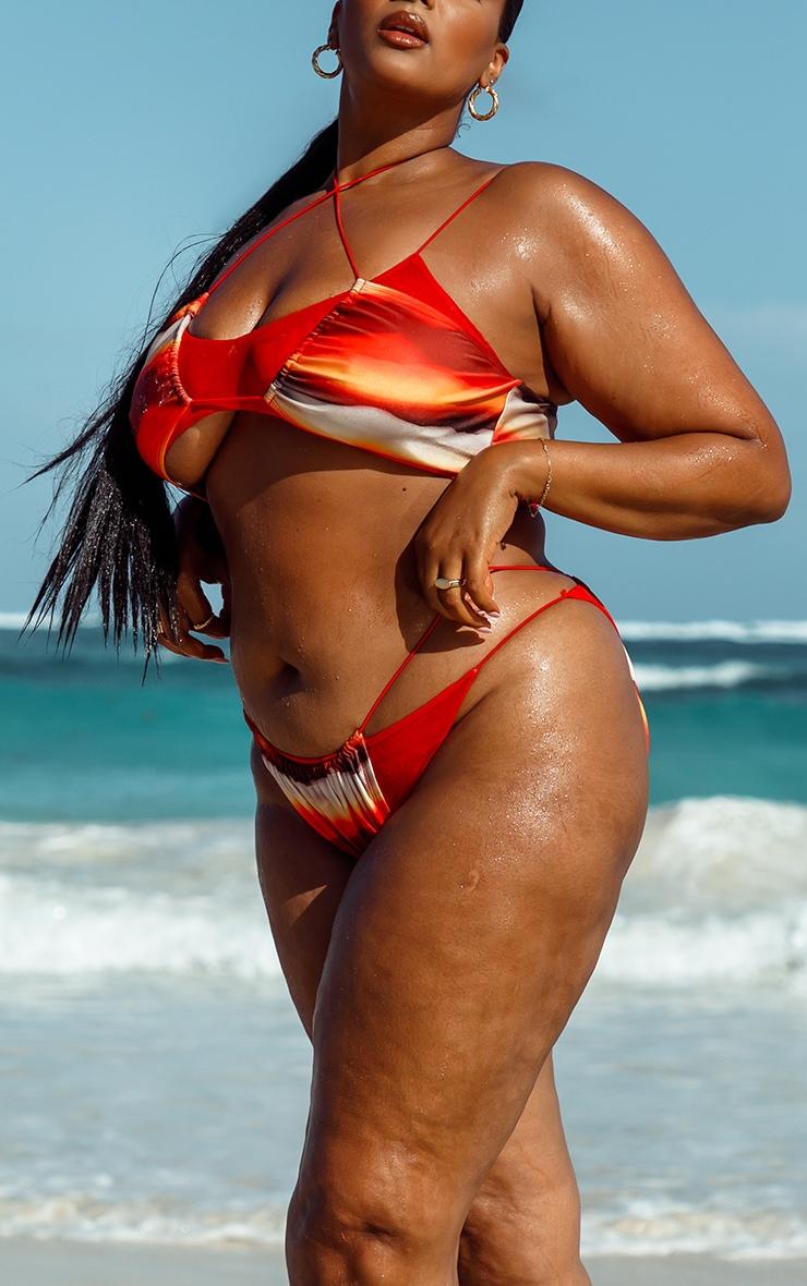 Plus Orange Ombre Double Layer Mesh Bikini Bottoms 4