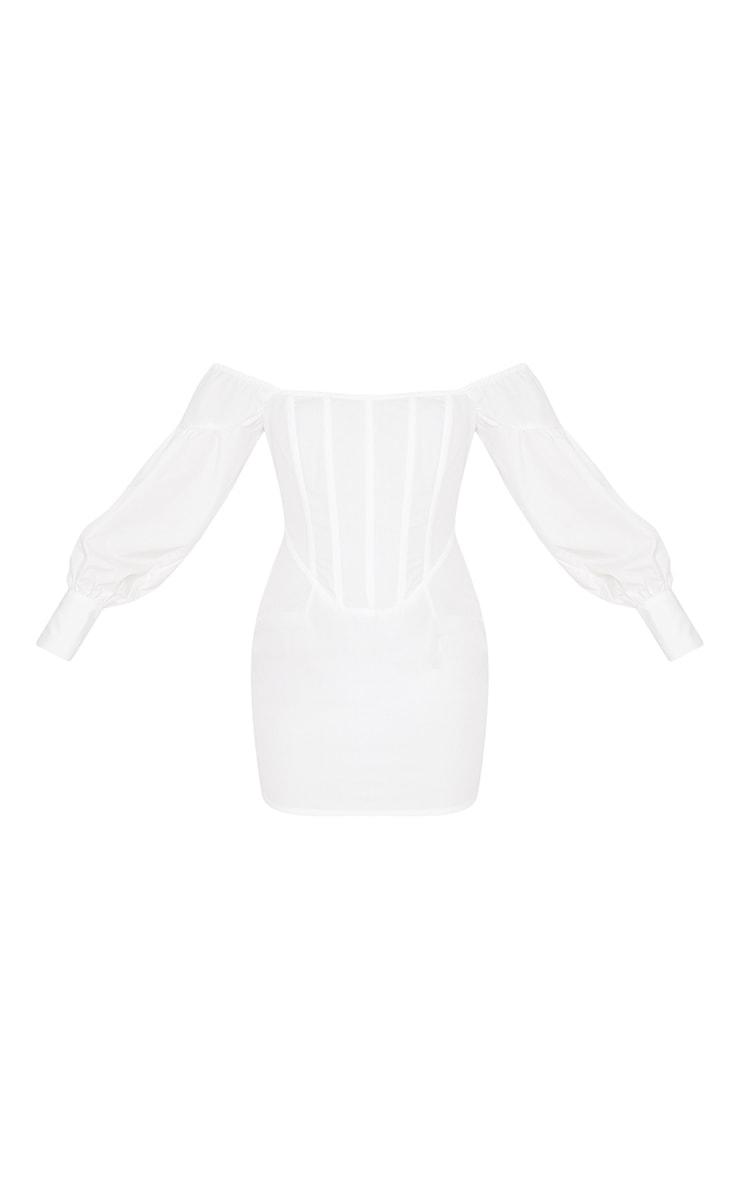 White Woven Bardot Corset Detail Bodycon Dress 3