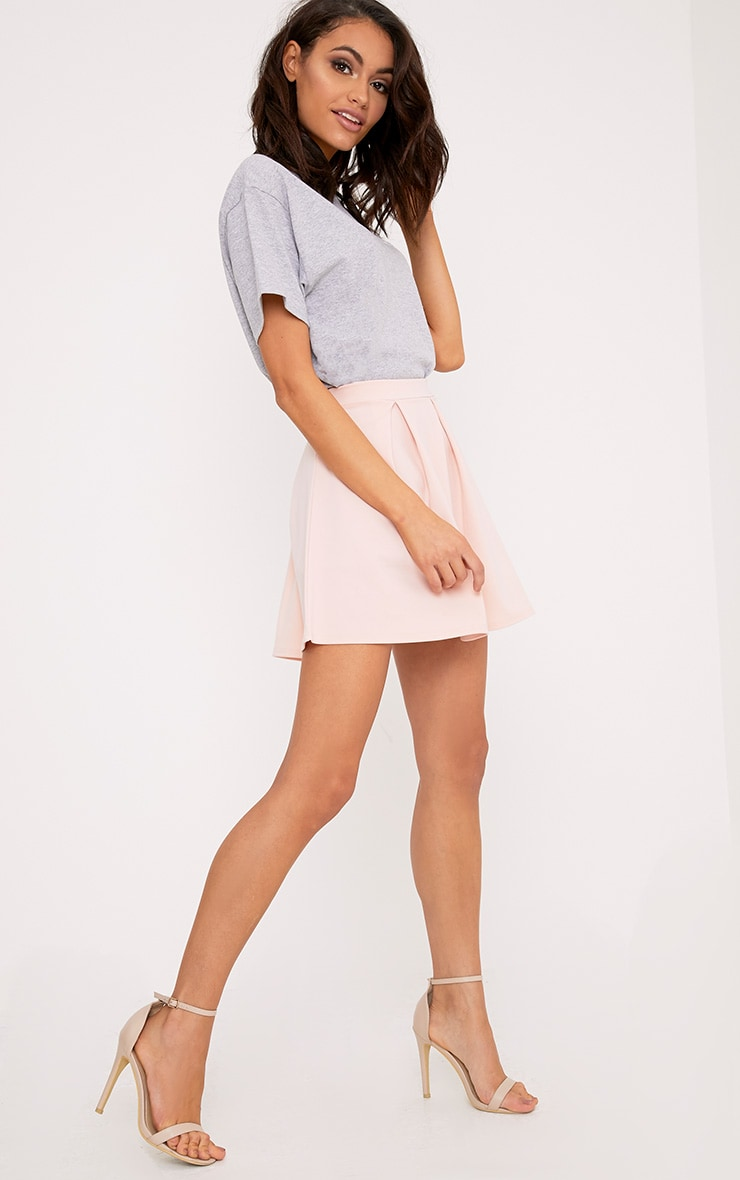 Rosabela Blush Box Pleat Skater Mini Skirt  5