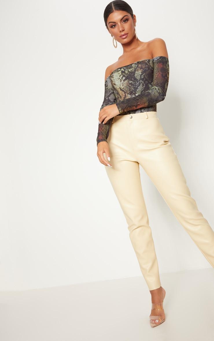 Black Slinky Snake Print Bardot Long Sleeve Thong Bodysuit 5