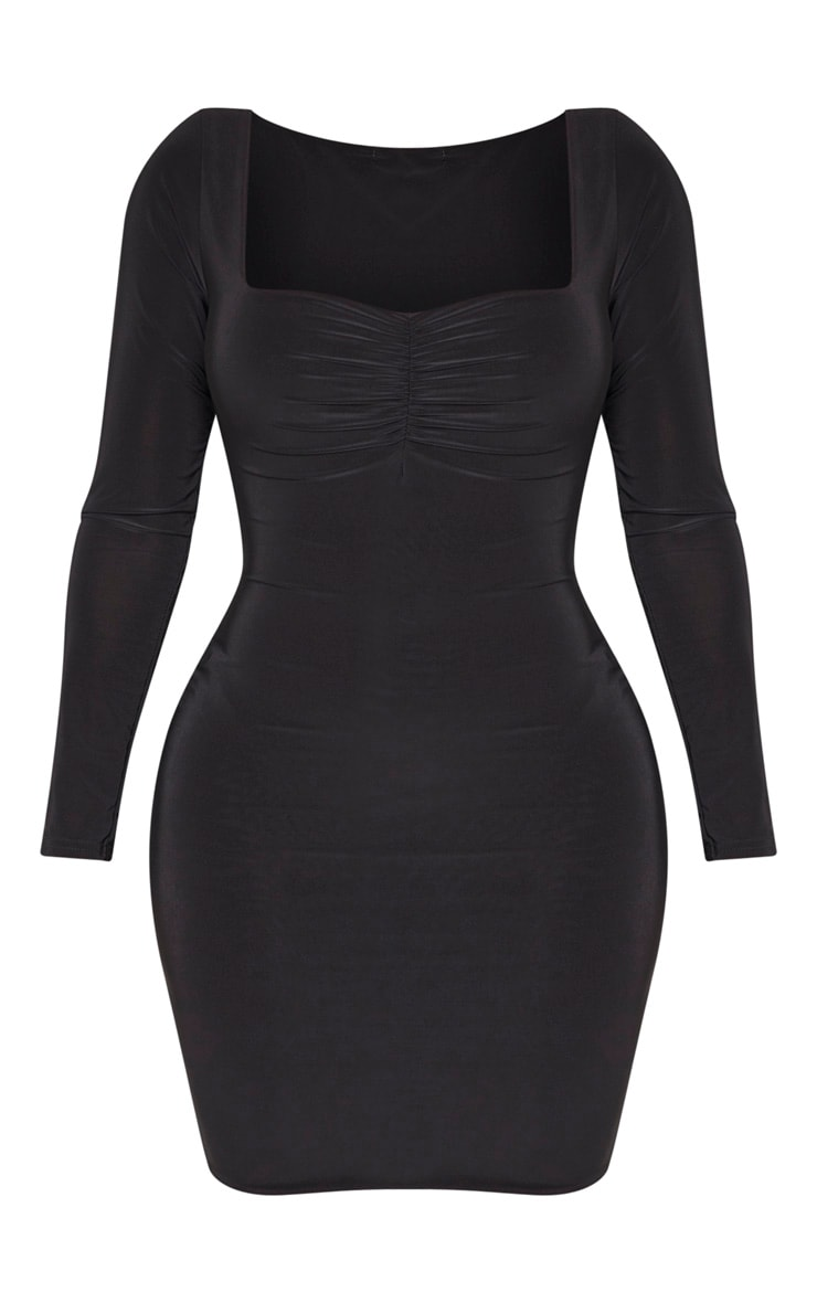 Shape Black Long Sleeve Slinky Ruched Bust Bodycon Dress 3