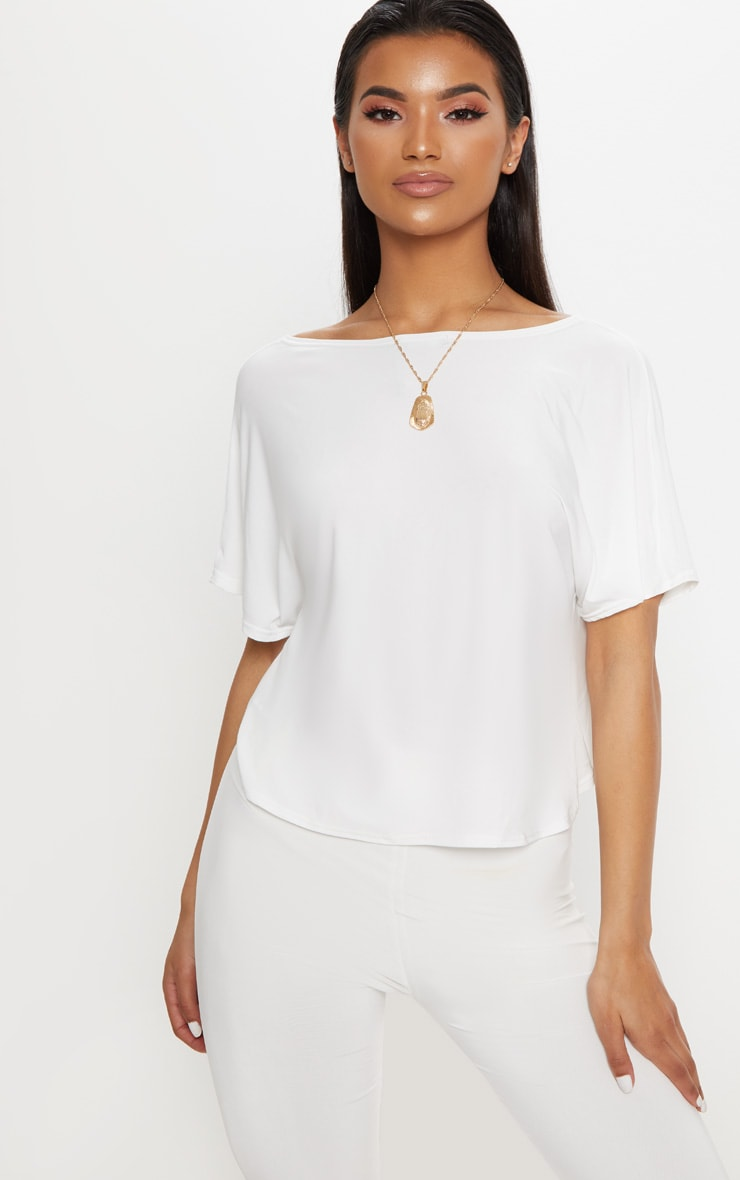 Cream Slinky Knot Back Batwing Crop Top 2