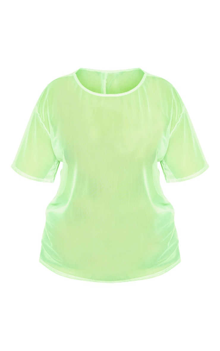 Plus Neon Lime Sheer Mesh Oversized T Shirt 3