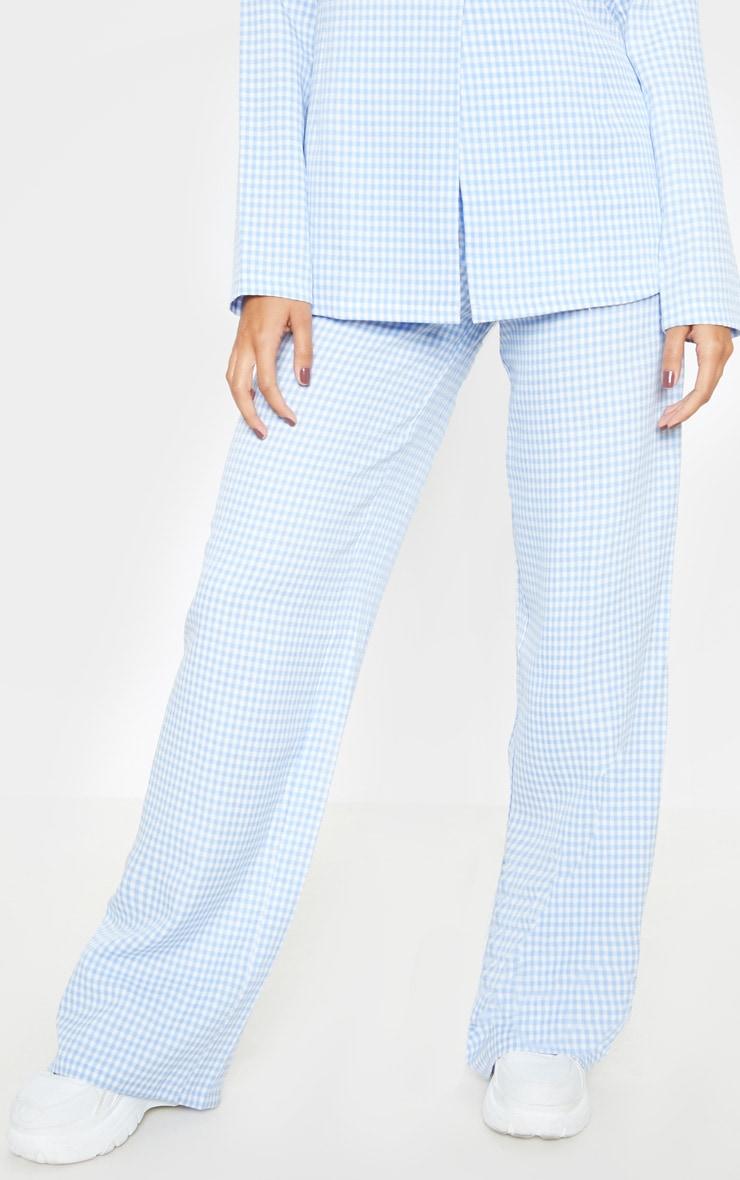 Blue Check Wide Leg Pants 2