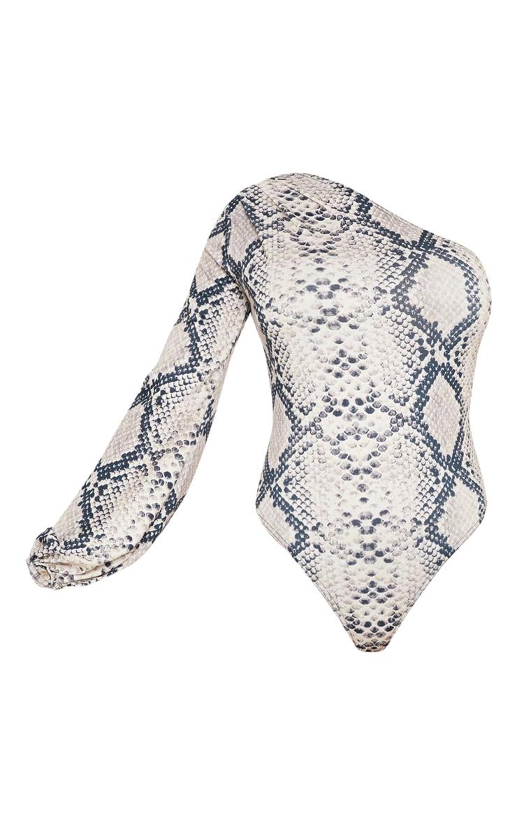 Cream One Shoulder Snake Bodysuit 3