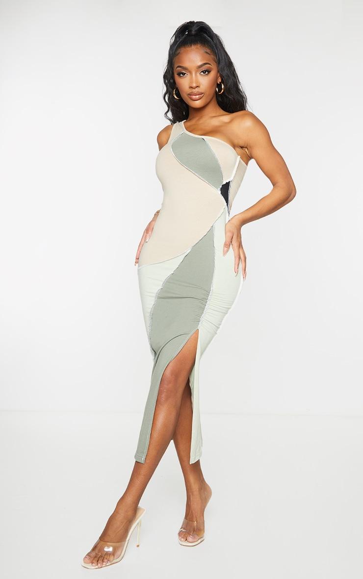 Shape Sage Green Cotton Panel Detail One Shoulder Ruched Midaxi Dress 3