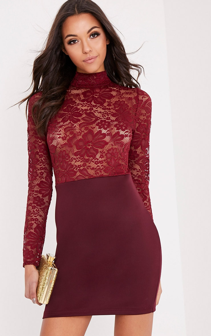 724fb73d14848 Izzie Burgundy Sheer Lace Top Bodycon Dress image 1