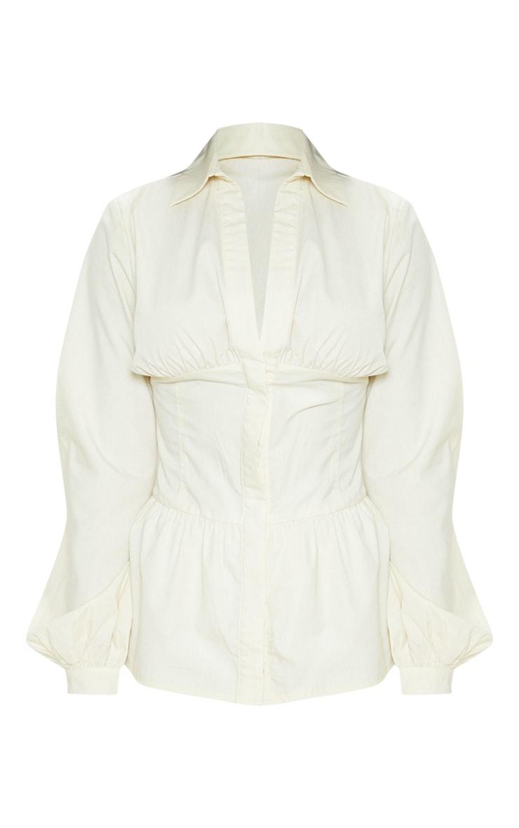 Petite Cream Puff Sleeve Long Sleeve Panel Shirt 3