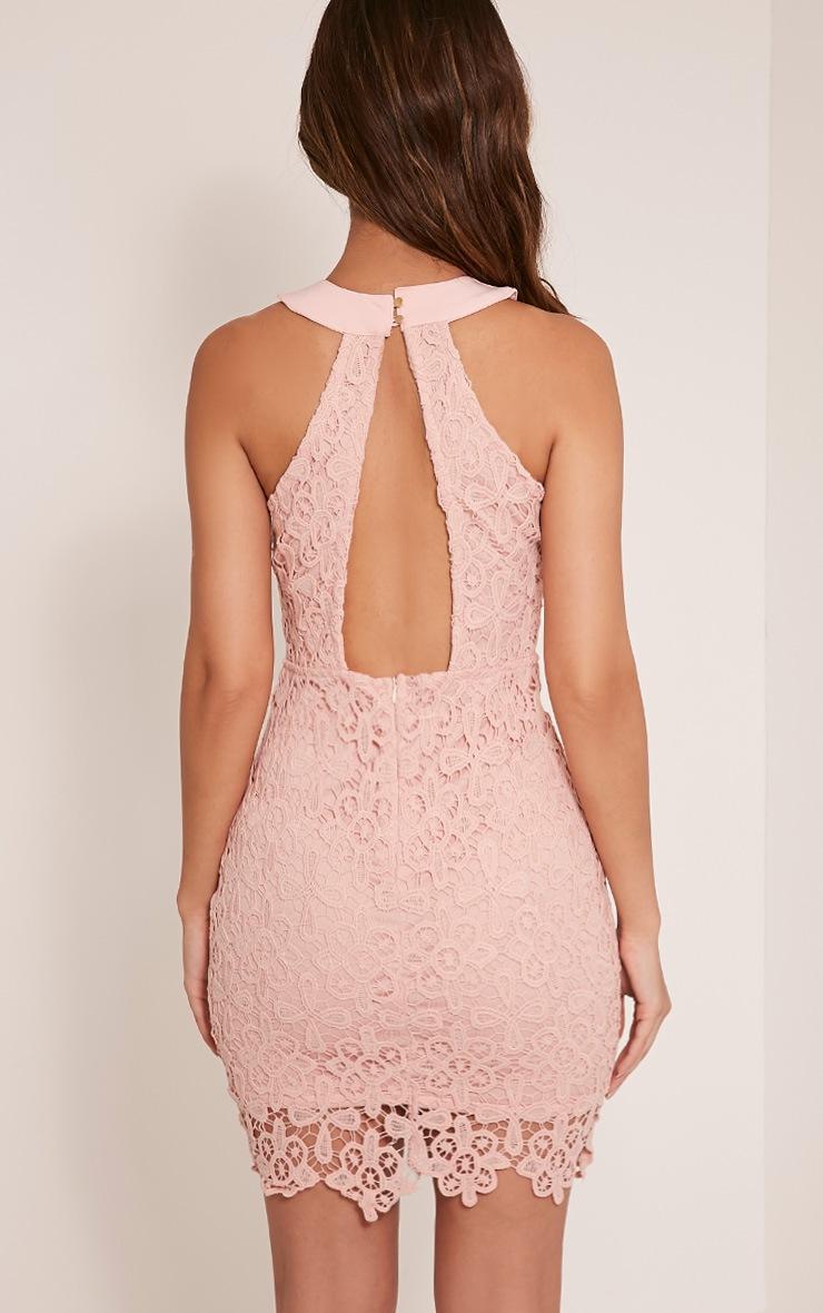 Leliana Pink Crochet Lace Neck Detail Bodycon Dress 2