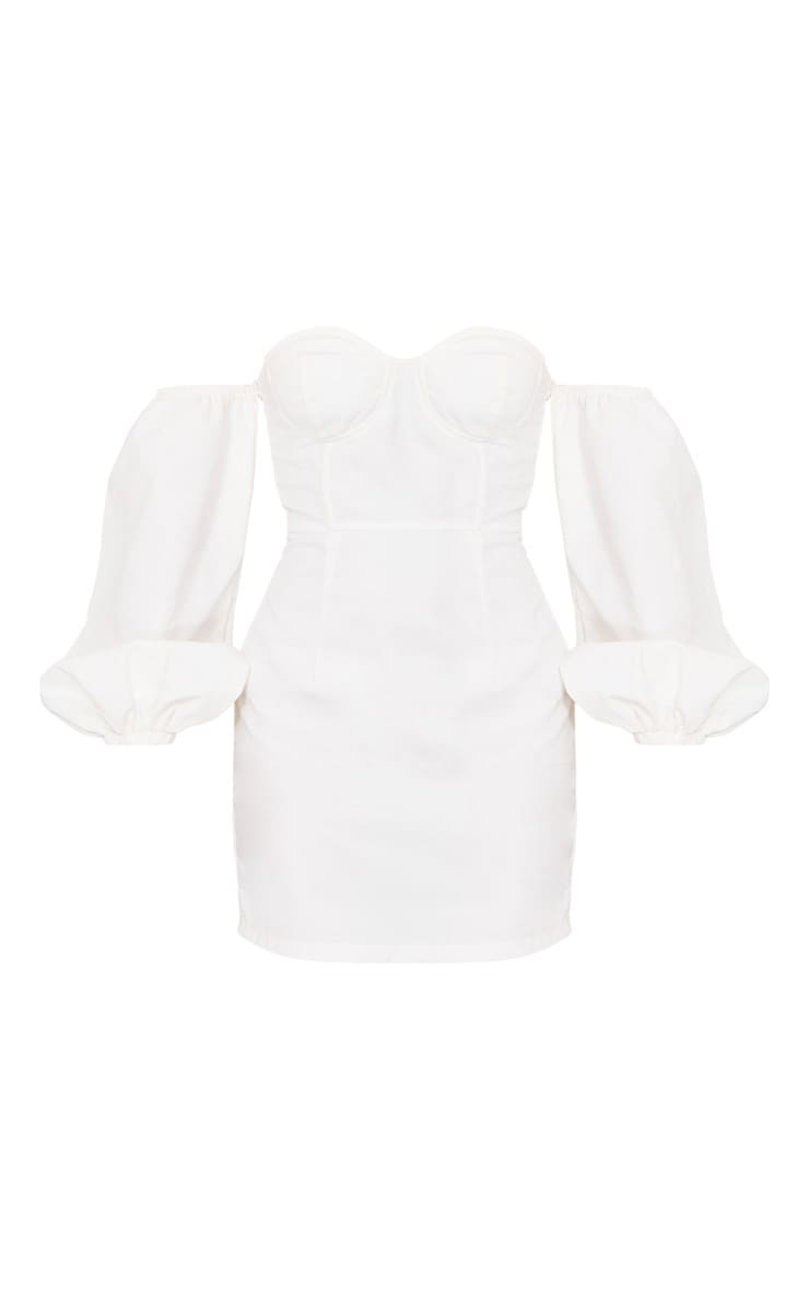 White Bardot Balloon Sleeve Underwired Bodycon Dress 5