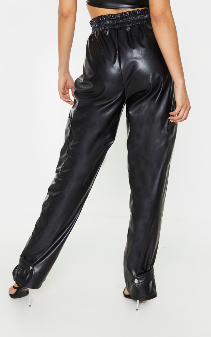 Tall Black Ruched Buckle PU Hem Trouser 3