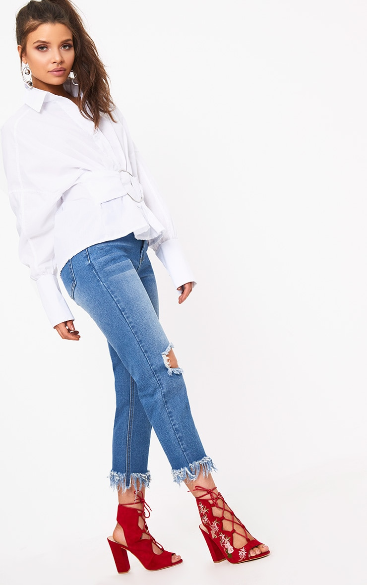 White O Clasp Belt Oversized Shirt 4
