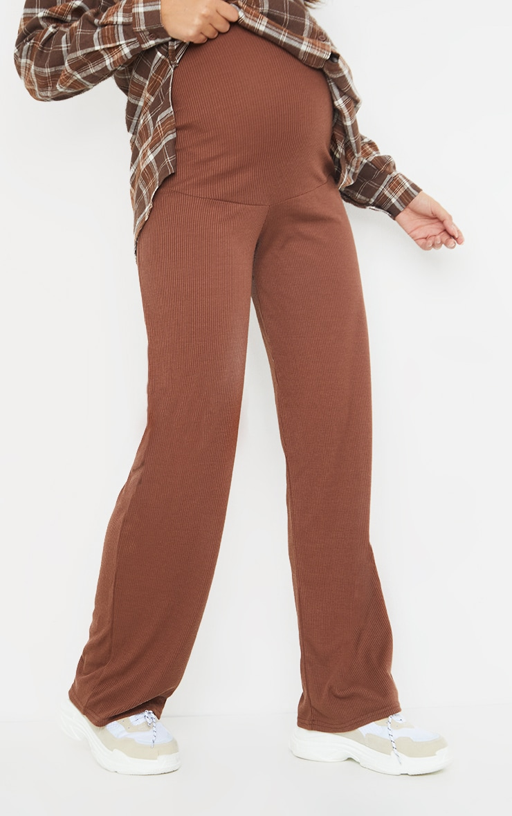Maternity Chocolate Ribbed Wide Leg Trousers 2