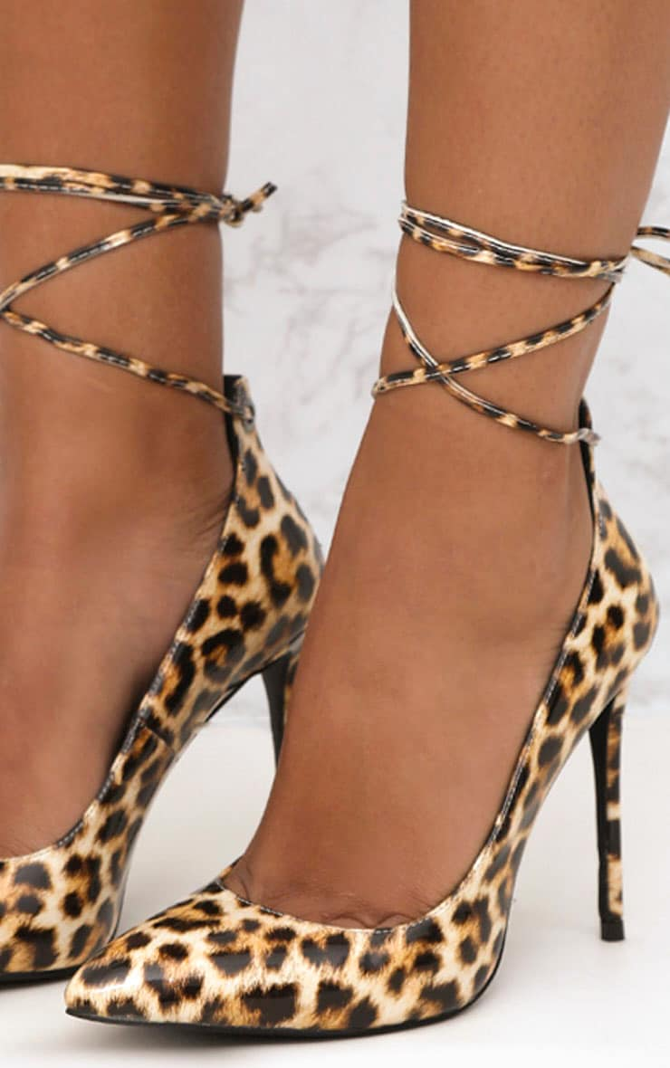 Brown Faux Leopard Print Lace Up Pointed Heels 5