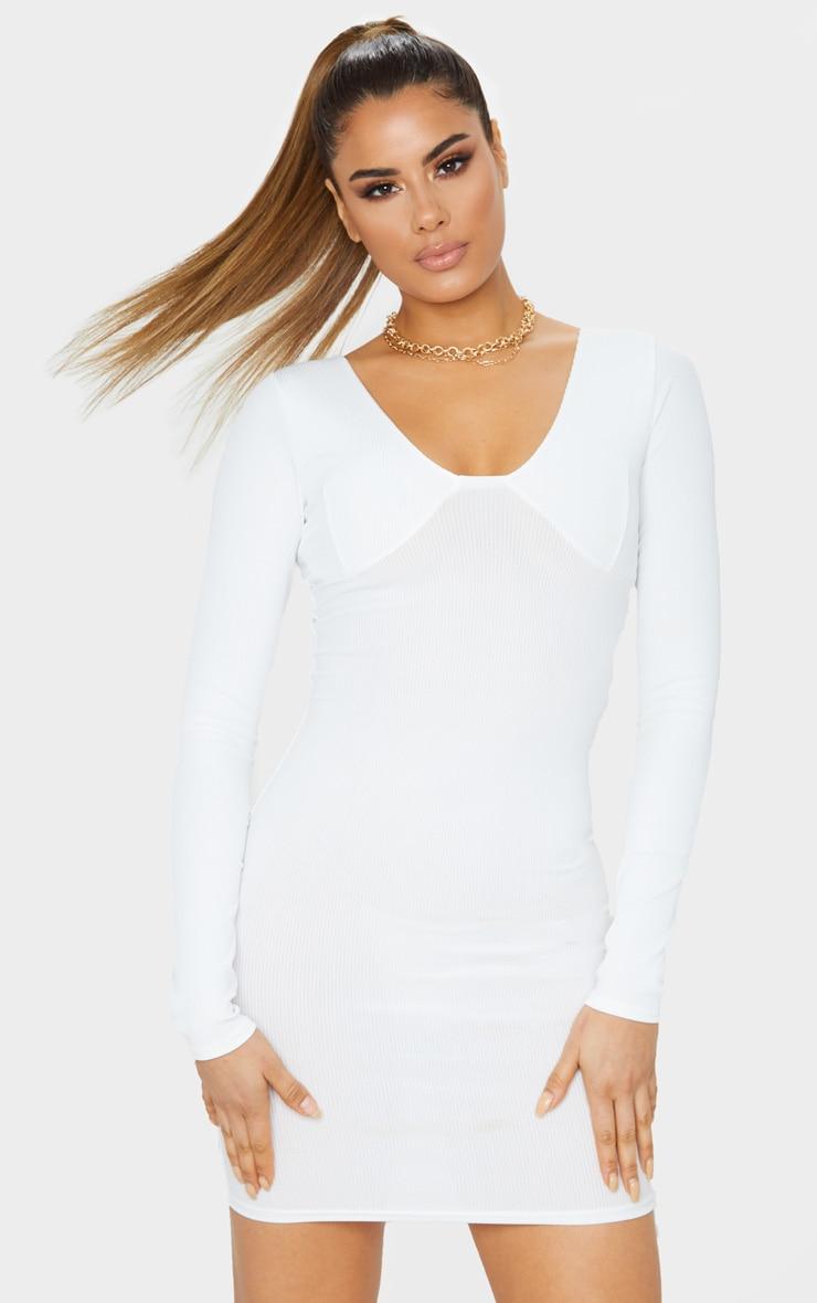 Tall Cream Ribbed Cup Detail Long Sleeve Mini Dress  1