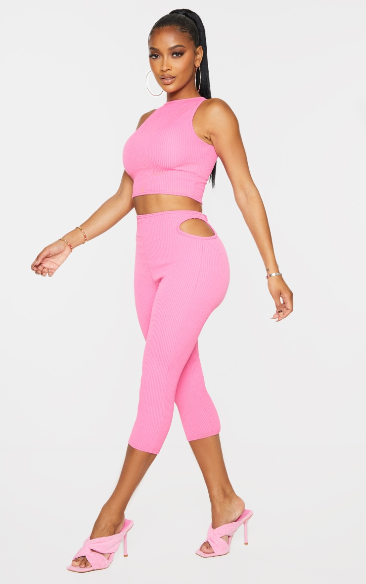 Shape Pink Textured Rib Cut Out Side Cropped Leggings 1