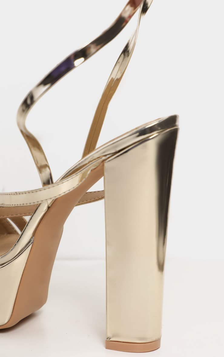 Gold Patent Double Platform Strappy Sandals 4