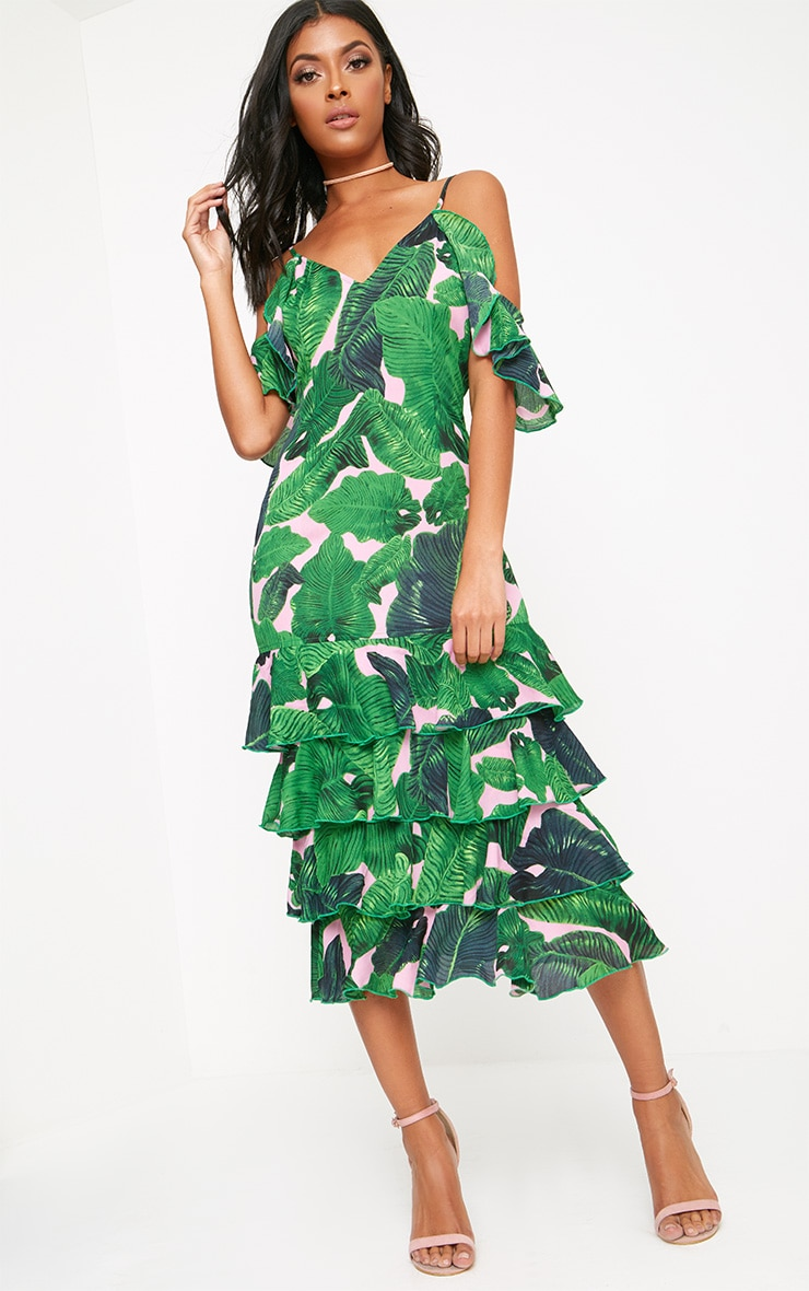 Green Tropical Print Strappy Frill Hem Midi Dress 1