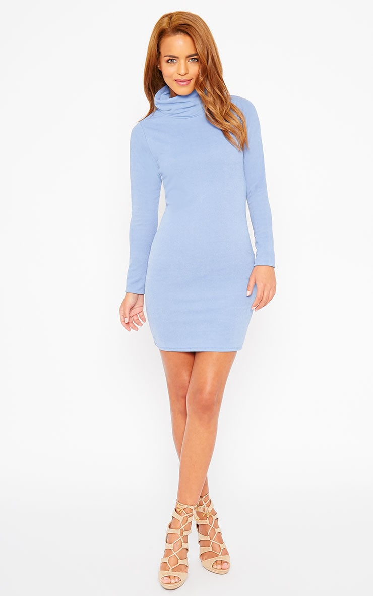 Catrina Powder Blue Roll Neck Dress 3