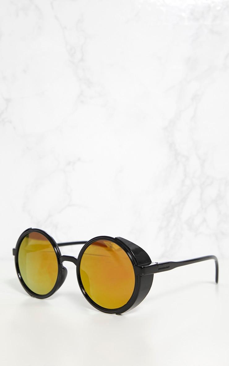 Orange Lens Round Retro Goggle Sunglasses 3