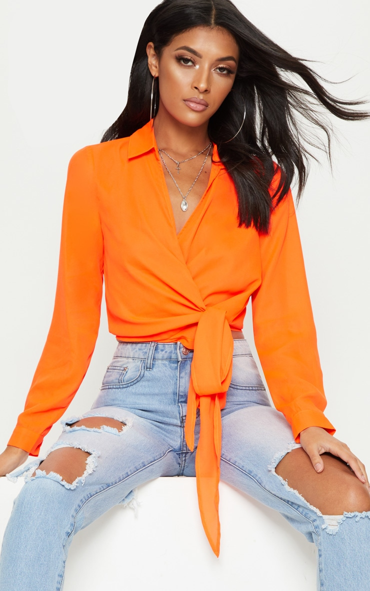Neon Orange Wrap Front Tie Side Blouse 2