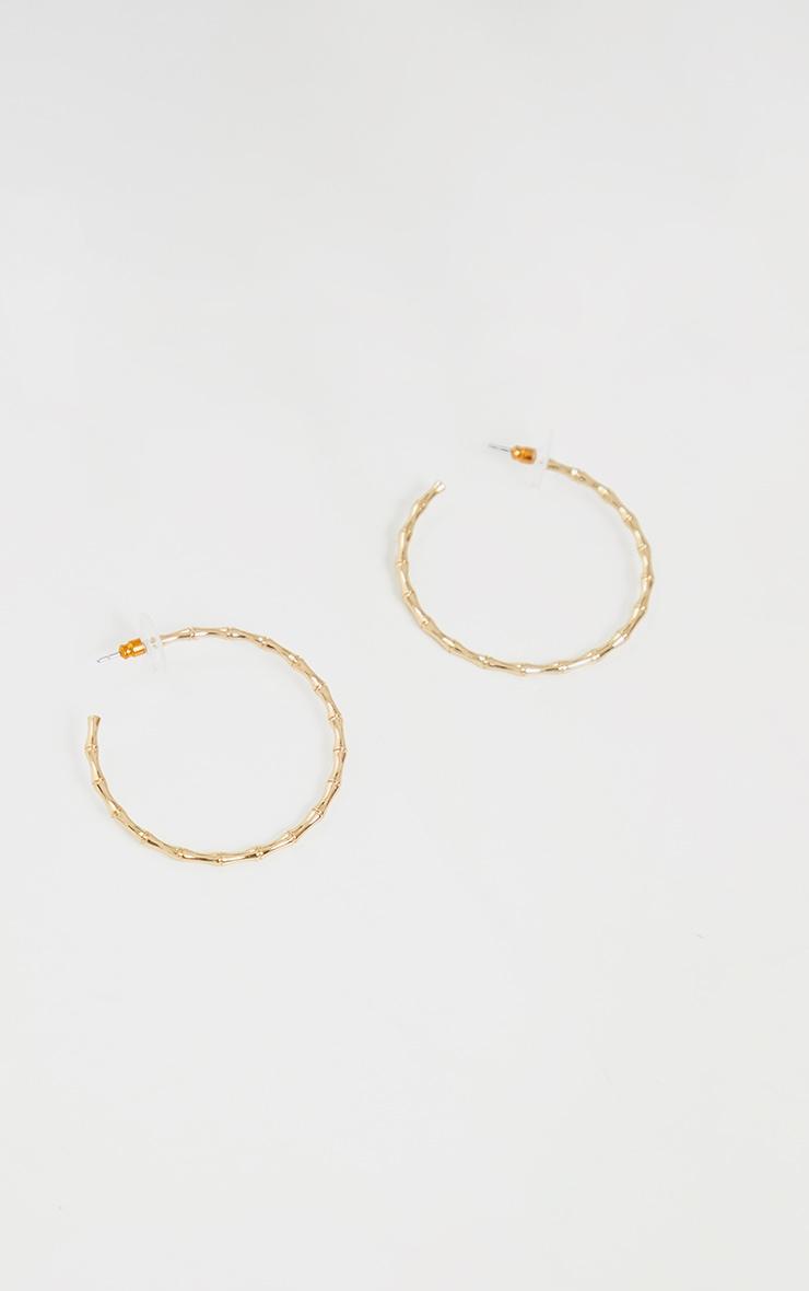 Gold Medium Hammered Hoop Earrings 3